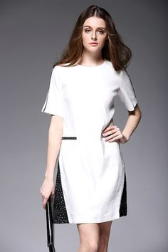 $75.99 White Short Sleeves Color Block Dressproducts_id:(1000012967 or 1000012316 or 1000012624 or 1000012415)