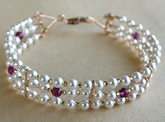 3 Strand Beaded Bracelet Jewelry Making Project Made with Pearl and Amethyst Beads