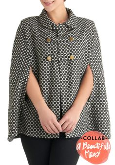 Mod-ern Times Cape - 2, Grey, White, Buttons, Black, Print, Peter Pan Collar, Casual, Vintage Inspired, 60s, Fall