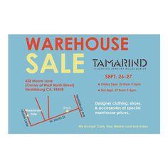 Tamarind warehouse sale in our favorite wine country spot! Up to 70% off past season collections. #sale #deal #winecountry #Healdsburg #designer #antikbatik #tucker #pendleton #stevenalan #bayarea...