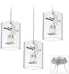 Possini Euro Square Glass Brushed Nickel Swag Chandelier -