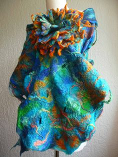 felted wool scarf,turquoise, custom order | Flickr - Photo Sharing!