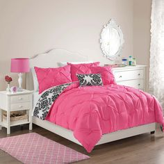 Victoria Classics Olivia Pintuck Damask Reversible Comforter Set ($80) ❤ liked on Polyvore featuring home, bed & bath, bedding, comforters, hot pink comforter, black and white twin comforter, twin comforter sets, black & white comforters and black and white bedding