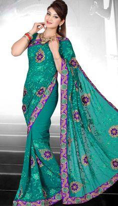Shop Fashionable Latest Green Georgette #DesignerSaree Product code: KDS-39333 INR 2415 (Unstitch Blouse), Color: Green Shop Online now: http://www.efello.com.my/Saree_Fashionable-Latest-Green-Georgette-Designer-Saree,-Sari_37807