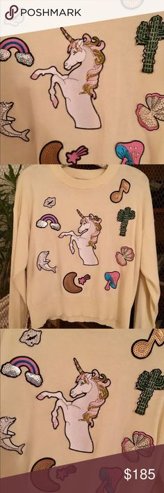 WILDFOX COUTURE FAIRYTALE Unicorn Sweater Small Sold out! Bought this for $250 in London. Worn once for photo shoot. In perfect condition, just has one little spot on right shoulder (see last pic). Soooo cool and unique, a showstopper. Wildfox Sweaters Crew & Scoop Necks