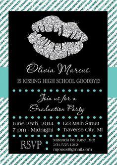 Lips Graduation Invitation - Printable Kissing High School or College Goodbye Invite