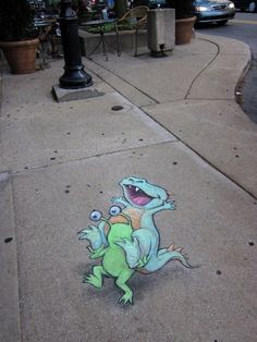 david+zinn+sidewalk+art | Funny Sluggo Lives On The Sidewalk | Random.us