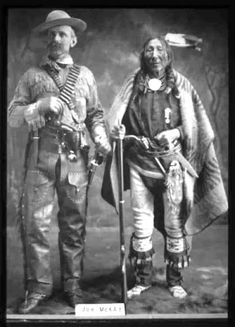 Joe McKay and Mistawasis (aka Big Child) - Cree Chief - no date - unknown photographer --- Mistawasis (Big Child) was born around 1813 and was a life long friend of Ahtahkahkoop (Star Blanket). Mistawasis was one of the chiefs of the Fort People, a group of Cree that lived around Fort Carlton and his people eventually settled at Snake Plain. (http://www.otc.ca/LEARNING_RESOURCES/Historical_Biographies/Treaty_6/Mistawasis_(Big_Child)/)