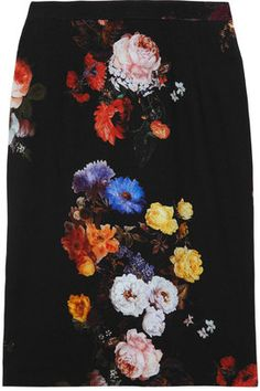 ShopStyle: Dolce & Gabbana Floral-print stretch-crepe skirt