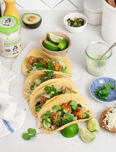 Crispy Butternut Squash Tacos with a creamy poblano sauce made with @Sirkensington's Avocado Oil Mayonnaise #sponsored