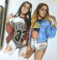 Love this picture of black girls! Black Love Art, Black Girl Art, Black Girls, Art Girl, Tumblr Drawings, Bff Drawings, Pretty Drawings, Outline Drawings, Best Friend Drawings