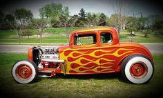 Flamed hot rod orange