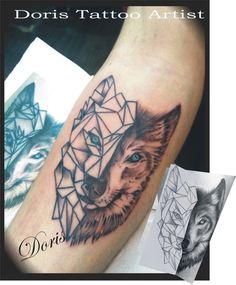 geometric wolf arm tattoo by Doris Aluf. tattoo artist