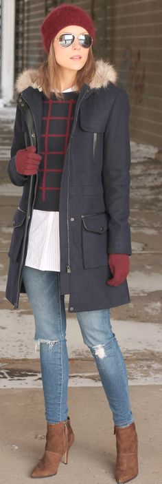 Navy Faux Fur Detail Hooded Coat by Penny Pincher Fashion