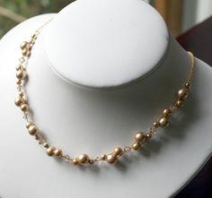 Bridesmaid Jewelry Cluster Pearl Necklace Swarovski by kymjewelry, $38.00