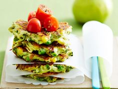 Zucchini and cheese fritters recipe - By Australian Women& Weekly, These delicious zucchini and cheese fritters are perfect for breakfast, lunch or dinner. Serve them with your favourite dip for a tasty lunch-box treat. Zucchini Cheese, Zucchini Fritters, Corn Fritters, Zucchini Slice, Corn Cheese, Vegetable Recipes, Vegetarian Recipes, Cooking Recipes, Lunch Recipes