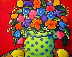 Impresión de Giclee de arte popular de lunares verde Floral flores limones divertido caprichosa naturaleza muerta