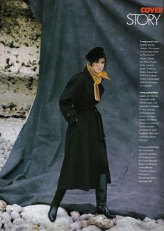 1991 Velvet Hat, Long Wool Coat, Long Shot, Polo Neck, Collar And Cuff, Fashion Boots, Supermodels, Leather Boots, Vintage Fashion