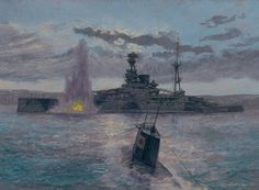"""""""Attack on HMS Ramillies"""" (by Paul Wright) This scene depicts the moment that HMS Ramillies was struck by a Japanese midget-sub torpedo in Diego Suarez harbor on May 30th, 1942. The torpedo struck the ship on its port side, causing a large hole and extensive flooding. The battleship was patched up to allow her to steam to Durban, South Africa for repairs, on June 3rd, under her own power. The ship was out of the war for nearly a year."""
