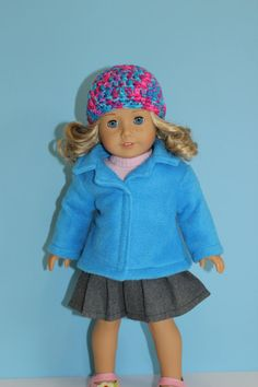 American Girl Doll Coat  Fleece Jacket with Collar  by JillianSews, $14.00