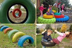 jeux d'enfants dans le jardin: idées avec pneus peints en couleurs