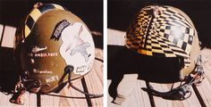 """Wayne Mutza says, """"Although this is not the flight helmet I wore in Vietnam, which was painted black, it served as a log of things I've done."""" This helmet also lists Pakistan, Cambodia, and Korea as places he did tours of duty in. (Courtesy of Mutza, via VHPAMuseum.org)"""