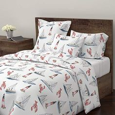 Nautical Duvet Cover Maritime New England Lighthouse Sailing Sailboat Lobster by Rileysheehey Cotton King Duvet Cover Nautical Duvet Covers, Nautical Pillows, Bedding Sets Online, Luxury Bedding Sets, King Duvet, Queen Duvet, Duvet Cover Design, Sateen Sheets