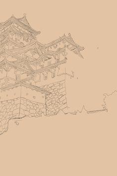 SassophiliART!: Background in progress, reference: Himeji Castle.