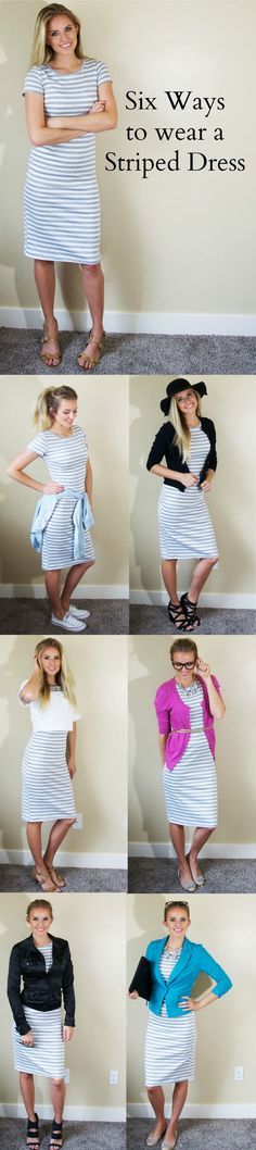 This striped jersey dress! So many cute ways to wear it! Sharing 6 different ways to wear a striped dress, and focusing on my 3 favorite ways. Outfits Niños, Lula Roe Outfits, Modest Outfits, Modest Fashion, Fall Outfits, Summer Outfits, Casual Outfits, Fashion Outfits, Apostolic Fashion