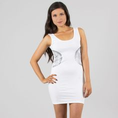 White Tank & Silver Rhinestone Side Dress #partydress #minidress #cute