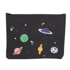 space case galaxy illustrated embroidered Realm ipad bag or makeup clutch