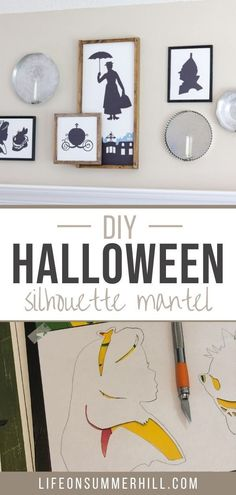 Decorate your home for Halloween with this simple Halloween craft. DIY Halloween silhouette using Disney and Wizard of Oz characters. Using original images this cheap and easy tutorial will give your holiday decor a homemade unique look. Get into the Halloween spirit with these black shadow images of Alice in Wonderland, Mary Poppins, the tin man, and Cinderellas coach. Dress up your mantle with silouettes. Learn how to make a silhouette including a step by step video.