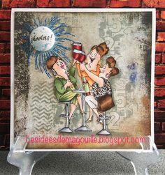 Art Impressions Rubber Stamps: Ai Girlfriends: Wine Divas ... handmade card.