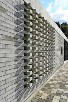Image 14 of 40 from gallery of Raíces Educational Park / Taller Piloto Arquitectos. Photograph by Juan Manuel Bernal Arias Decorative Concrete Blocks, Concrete Block Walls, Concrete Bricks, Design Exterior, Brick Design, Facade Design, House Design, Brick Masonry, Brick Facade