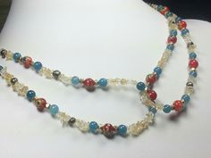 Blue Red and Cream Beaded Necklace Milifiori by austinleighdesigns, $65.00