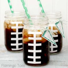 Super Bowl Party Crafting: Football Mason Jars #PreppyPlanner