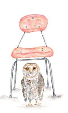 Watercolor owl painting by ThimbleSparrow Pinned by www.myowlbarn.com