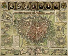 groningen   1630-40   kaart in vogelvluchtperspectief van egbert haubois (kleine haubois) Star Fort, Fortification, City Maps, Old City, Ancient History, City Photo, Globes, Bohemian Rug, Holland