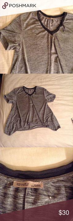 ❤️Zara Metallic Silver Top❤️ NWOT Zara Metallic Silver top in medium. New with no tags! Zara Tops Tees - Short Sleeve
