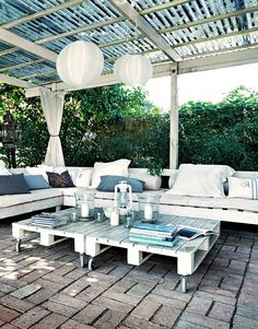 White and blue outdoor furniture