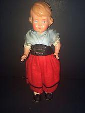 25cm Antique German Turtle Mark Celluloid Girl Doll Schildkrot