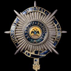The Russian Order of St. Andrew the Apostle the First-Called with motto band of the British Order of the Garter. Andrew The Apostle, Roi George, Military Awards, Military Decorations, Order Of The Garter, Military Orders, Grand Cross, Olympic Medals, Royal Crowns
