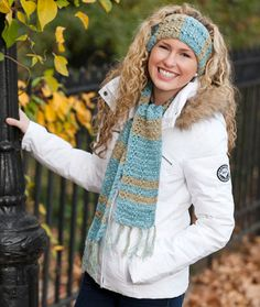 cute scarf and headband to crochet with super fine-weight yarn | free pattern @ red heart