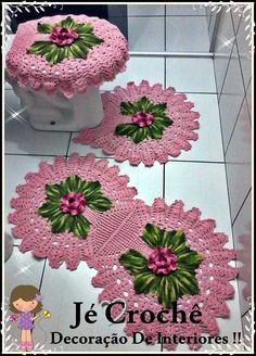 Set of 3 pieces for bathroom wool hook handmade carpet decoration Diy Crochet Tablecloth, Crochet Border Patterns, Crochet Carpet, Crochet Kitchen, Crochet Gifts, Beautiful Crochet, Crochet Flowers, Crochet Projects, Diy And Crafts
