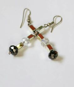 Beautiful b/w crystal n silver earrings