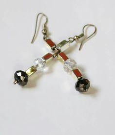 Beautiful b/w crystal n silver earrings