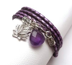 New Bracelet -Purple Braided Leather Wrap with Lotus Flower and Amethyst Briolette $38.00 #etsyfollow #jewelry #handmade #bracelet charmed1012