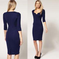 2014 spring work dresses   2014 Women Dresses Spring Work Dress Fashion Knee Length Pencil Plus ...