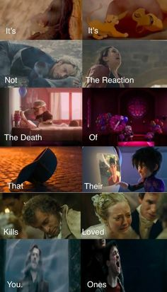 It's Not The Death That Kills You. It's The Reaction Of Their Loved Ones. Lion King, Avengers Age of Ultron, Big Hero Six, Les Mis, and Harry Potter. <<<<<i read Its its not the reaction the death of that their kills you loved ones Images Harry Potter, Harry Potter Memes, Movie Quotes, Book Quotes, Heros Film, Image Triste, Citations Film, Fandom Quotes, Image Film
