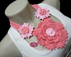 Colar de Crochê Gardênia Tons de rosa